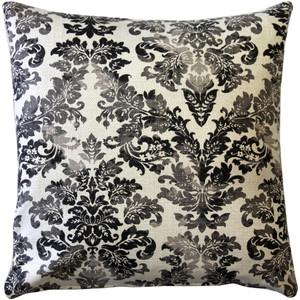 Calliope Gray Damask Pattern Throw Pillow 20x20