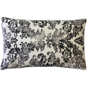 Calliope Gray Damask Pattern Throw Pillow 12x20
