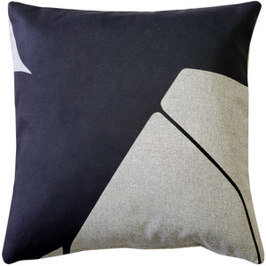 Boketto Charcoal Black 19 Inch Square Throw Pillow from Pillow Decor