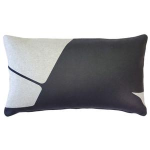 Boketto Charcoal Black 12x19 Inch Rectangular Throw Pillow from Pillow Decor
