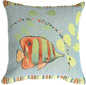 Tropical Fish French Tapestry Throw Pillow
