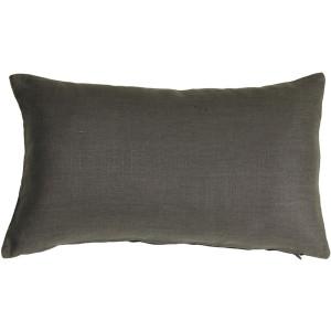 Tuscany Linen Charcoal Gray 12x19 Throw Pillow
