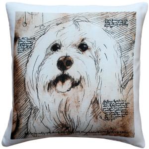 Mischievous Maltese 17x17 Dog Pillow
