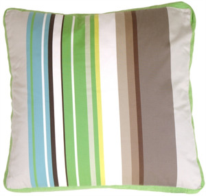 Green Apple & Gray Stripes Decorative Pillow