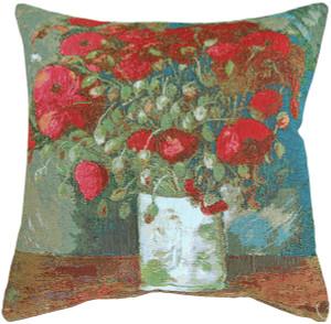 Van Gogh Poppies 19x19 Throw Pillow