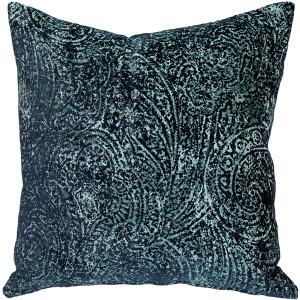 Visconti Teal Blue Chenille Throw Pillow 17x17
