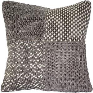 Hygge Gray Check Knit Pillow
