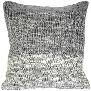 Hygge Storm Gray Knit Pillow