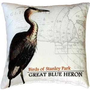 Great Blue Heron Bird Pillow 18X18