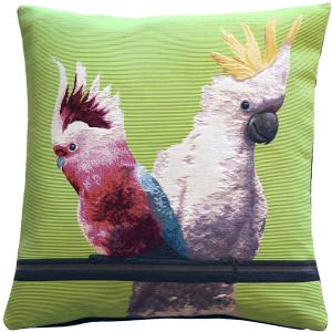Cockatiel Birds Green Tapestry Throw Pillow