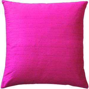 Sankara Fuchsia Pink Silk Throw Pillow 18x18