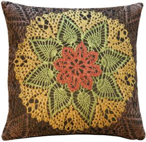 Crochet Flower 19x19 Tapestry Pillow