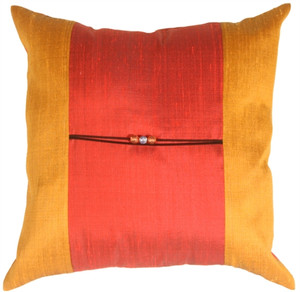 Oriental Beads Red Square Throw Pillow