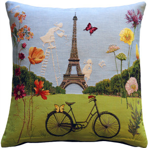 Eiffel Tower in Spring Tapestry Throw Pillow