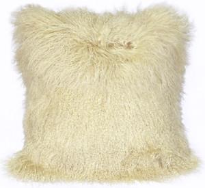 Mongolian Sheepskin Natural White Throw Pillow