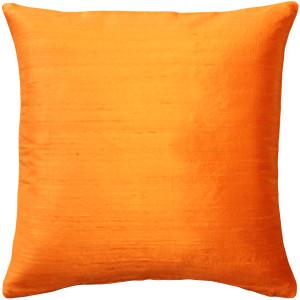 Sankara Orange Silk Throw Pillow 18x18