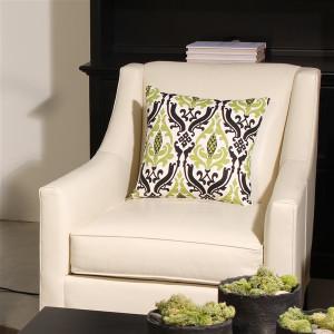 Linen Damask Print Green Black 16x16 Throw Pillow