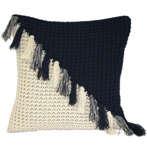 Hygge Coast Blue and Cream Knit Pillow