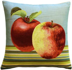Fresh Apples on Blue 19x19 Throw Pillow