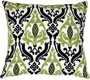 Linen Damask Print Green Black 18x18 Throw Pillow