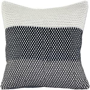 Hygge Tri-Stripe Blue Knit Pillow