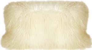 Mongolian Sheepskin Natural White Rectangular Pillow