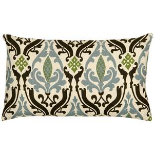 Linen Damask Print Blue Brown 12x19 Throw Pillow