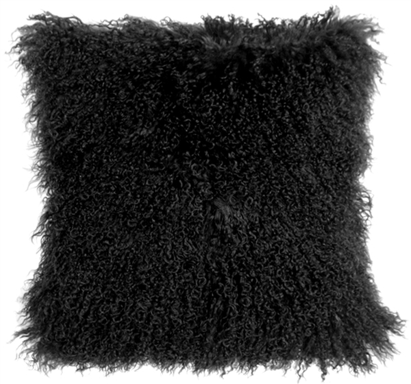 Mongolian Sheepskin Black Throw Pillow