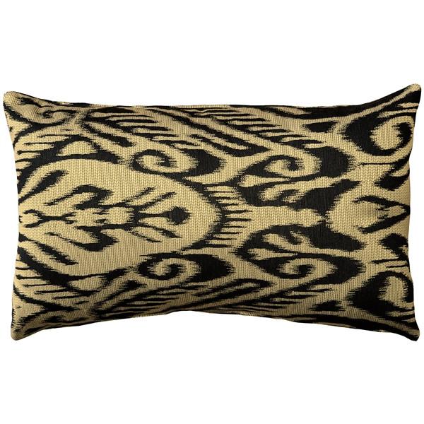 Mallorca Carbon Ikat Throw Pillow 12x20