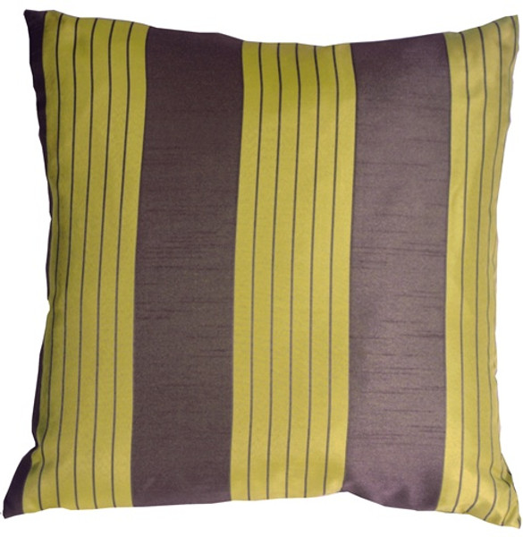 Contemporary Stripes in Green and Taupe Throw Pillow