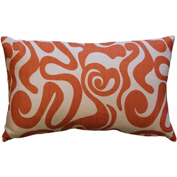 Tuscany Linen Swirl Orange Throw Pillow 12x19
