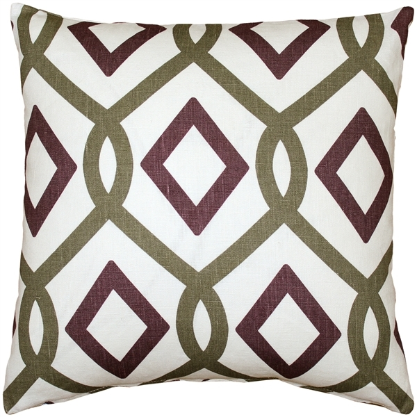 Tuscany Linen Sage Diamond Chain Throw Pillow 18X18