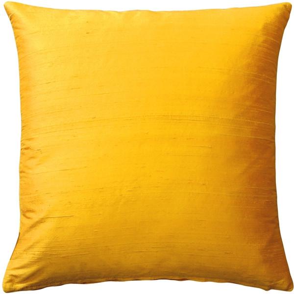 Sankara Deep Yellow Silk Throw Pillow 16x16