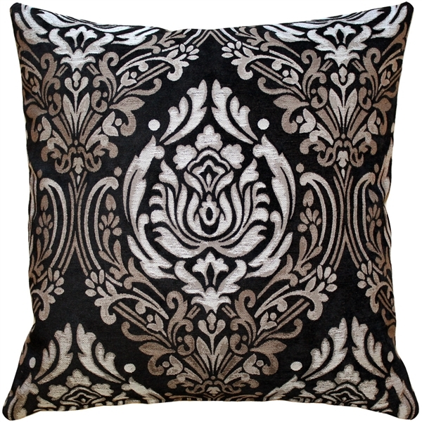Palazzo Black 22x22 Throw Pillow