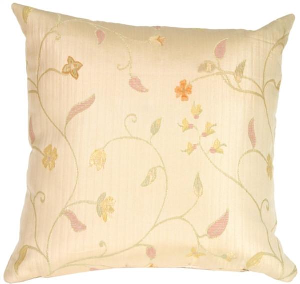 Random Flowers in Rich Cream Accent Pillow