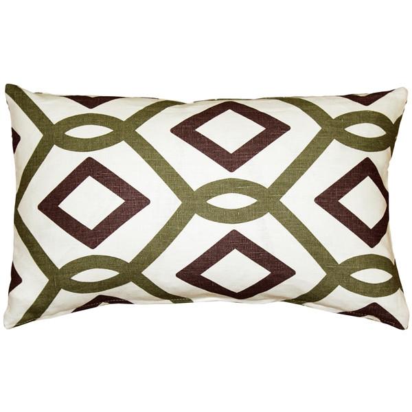 Tuscany Linen Sage Diamond Chain Throw Pillow 12x19