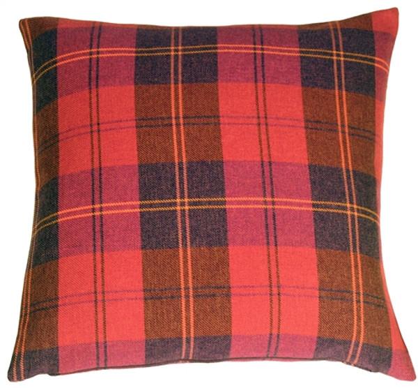 Contemporary Plaid Red 20x20 Throw Pillow