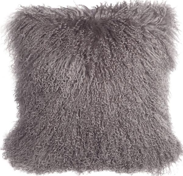 Mongolian Sheepskin Gray Pillow