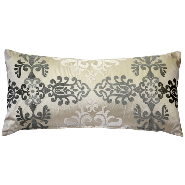 Sumatra Moonlight Embroidered Silk Pillow 12x24