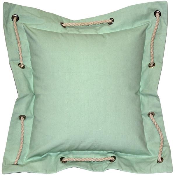 Nautical Pastel Green Cotton Throw Pillow 16x16