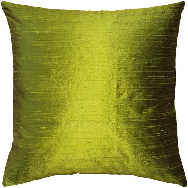 Sankara Chartreuse Green Silk Throw Pillow 18x18