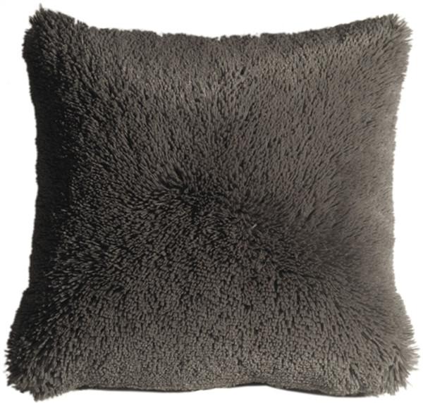 Soft Plush Gray 20x20 Throw Pillow
