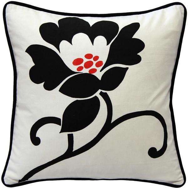 Graphic Flower Cotton Throw Pillow 16x16