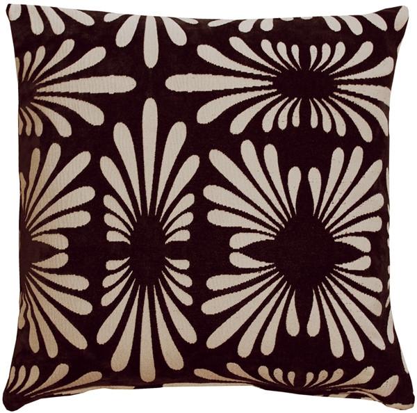 Velvet Daisy Black 20x20 Throw Pillow