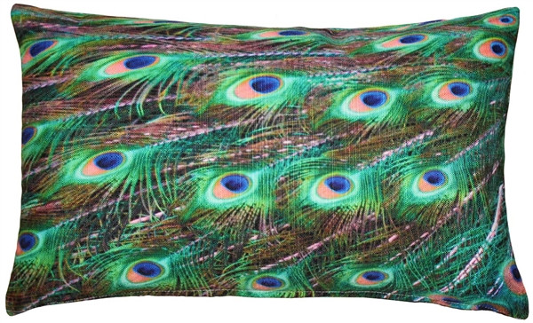 Peacock Tail Throw Pillow 12x20