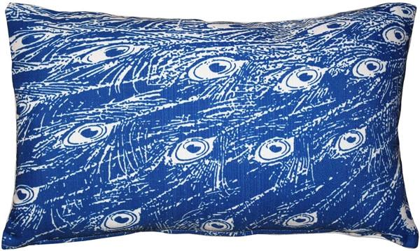 Peacock Blue Relief Throw Pillow 12x20