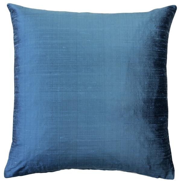 Sankara Marine Blue Silk Throw Pillow 20x20