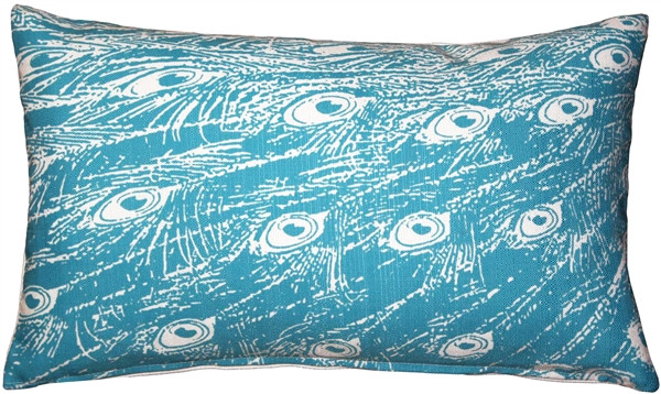 Peacock Turquoise Relief Throw Pillow 12x20
