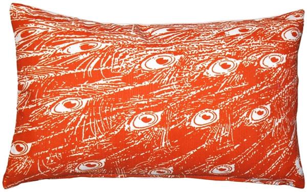 Peacock Orange Relief Throw Pillow 12x20
