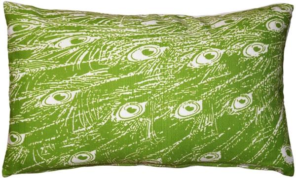 Peacock Green Relief Throw Pillow 12x20